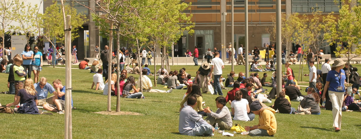 UC Merced students enjoying a sunny day sittin in the grass in the quad