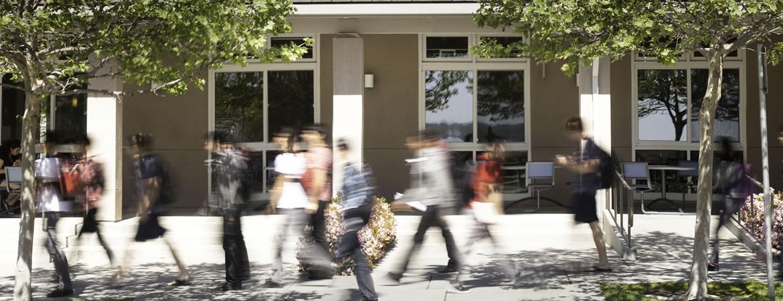 UC Merced students walking down Scholar's Lane